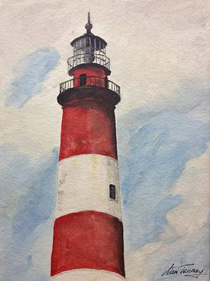 Poster featuring the painting Assateague Lighthouse  by Stan Tenney