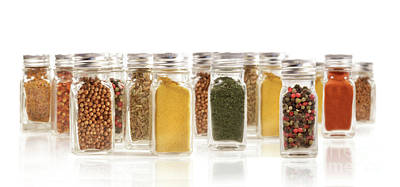 Assorted Spice Bottles Isolated On White Poster