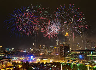 Poster featuring the photograph Atlanta Fireworks by Anna Rumiantseva