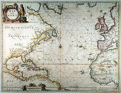 Atlantic Ocean Map, 1650 Poster by Granger