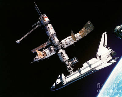 Atlantis Meets Mir Poster by NASA / European Space Agency