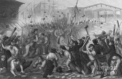 Attack On The Massachusetts 6th, 1861 Poster by Photo Researchers