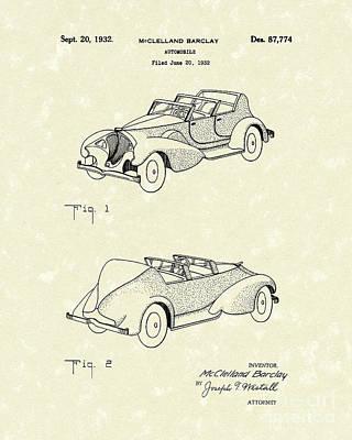 Automobile Mccelland Barclay 1932 Patent Art Poster