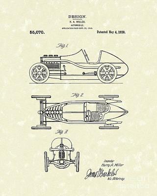 Automobile Miller 1920 Patent Art Poster