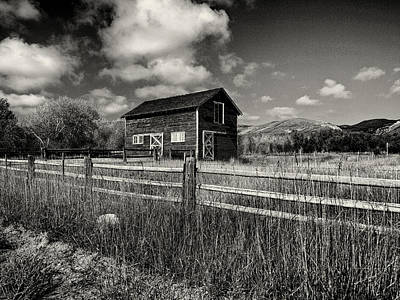 Autumn Barn Black And White Poster by Joshua House