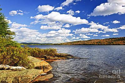 Autumn Lake Shore Poster by Elena Elisseeva
