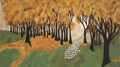 Autumn Sheep Poster