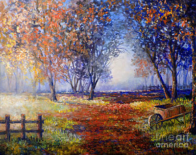 Poster featuring the painting Autumn Wheelbarrow by Lou Ann Bagnall
