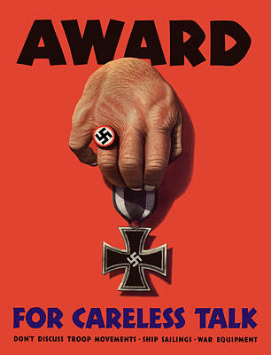 Award For Careless Talk - Ww2 Poster by War Is Hell Store