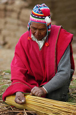 Aymara Native Spinning A Of Totora Rafts. Republic Of Bolivia. Poster by Eric Bauer