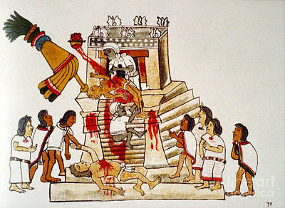 Aztec Human Sacrifice, Codex Poster by Photo Researchers
