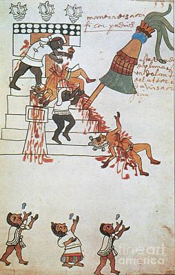 Aztec Human Sacrifice, Codex Tudela Poster by Photo Researchers