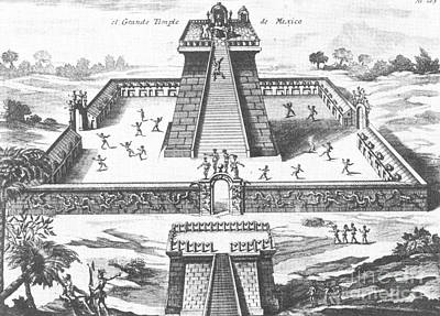 Aztec Temple At Tenochtitlan Poster by Photo Researchers