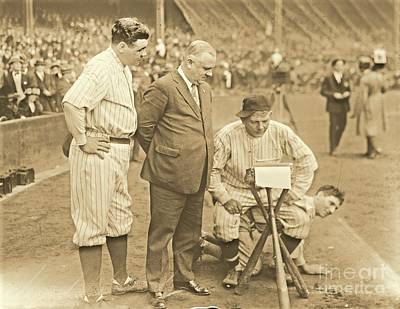 Babe Ruth Studies The Roster Poster