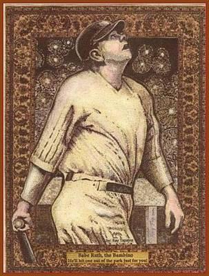 Poster featuring the mixed media Babe Ruth The Bambino  by Ray Tapajna