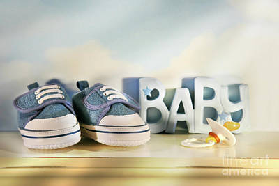 Baby Denim Shoes Poster by Sandra Cunningham