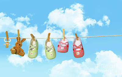 Baby Shoesr And Teddy Bear On Clothline Poster