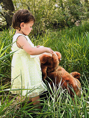 Baby With Teddy Bear Poster