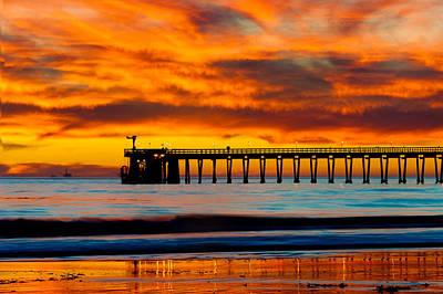 Bacara Haskell Beach And Pier Santa Barbara  Poster by Eyal Nahmias