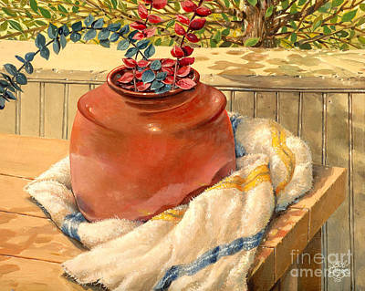 Poster featuring the painting Back Porch Crockery by Bob  George
