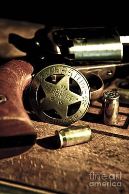 Badge And Gun Poster by Micah May