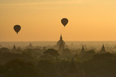 Bagan Pagodas In The Morning Poster by Gavriel Jecan
