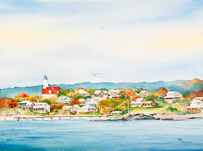 Bakers Island Lighthouse In Autumn Watercolor Painting Poster by Michelle Wiarda