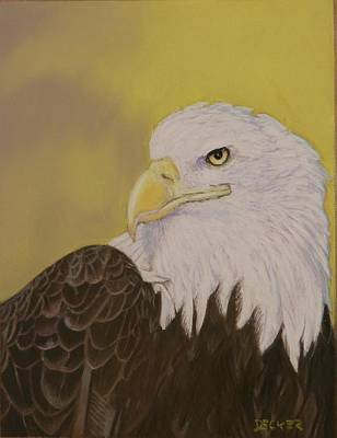 Poster featuring the drawing Bald Eagle by Robert Decker