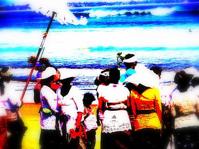 Balinese Beach Funeral  Poster by Funkpix Photo Hunter