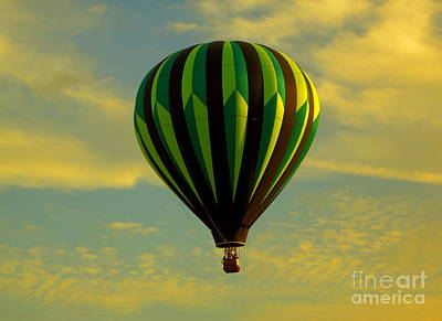 Balloon Ride Through Gold Clouds Poster by Robert Frederick