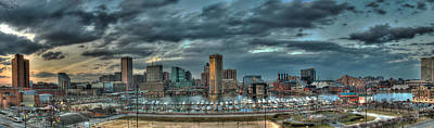 Poster featuring the photograph Baltimore Inner Harbor Pano by Mark Dodd