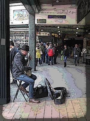 Banjo Busker At The Market Poster