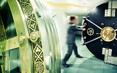 Poster featuring the digital art Banker Is Opening Safe Door by Ariadna De Raadt
