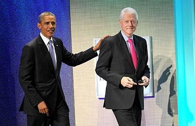 Barack Obama, Bill Clinton At A Public Poster