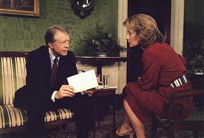 Barbara Walters Interviewing President Poster by Everett