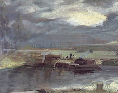 Barges On The Stour With Dedham Church In The Distance Poster by John Constable