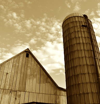 Barn And Silo In Sepia Poster