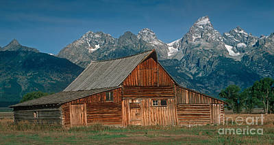 Barn And Tetons Poster by Jerry Fornarotto