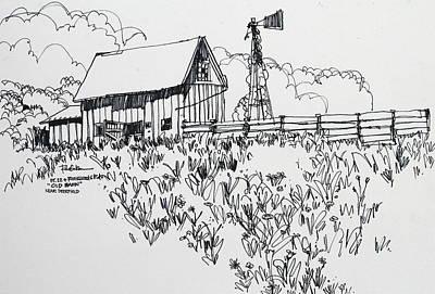 Barn With Windmill In Deerfield Illinois Poster by Robert Birkenes