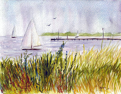 Poster featuring the painting Barnegat Sails by Clara Sue Beym