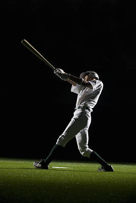 Baseball Batter Swinging Bat, Side View Poster by PM Images
