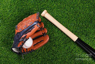 Baseball Glove Bat And Ball On Grass Poster