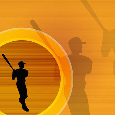 Baseball Player About To Swing, Silhouette (digital) Poster by Chad Baker