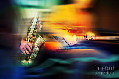 Poster featuring the photograph Basic Jazz Instruments by Ariadna De Raadt