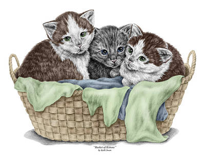 Poster featuring the drawing Basket Of Kittens - Cats Art Print Color Tinted by Kelli Swan