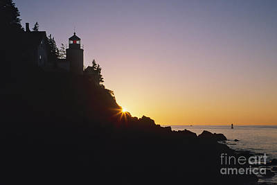 Bass Head Light Lighthouse At Sunset Poster by Jeremy Woodhouse
