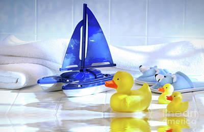 Bathtime Fun  Poster by Sandra Cunningham