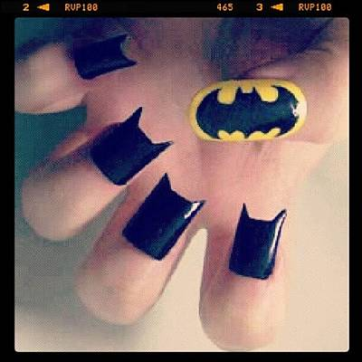 #batman #bat #man #black #yellow #nails Poster
