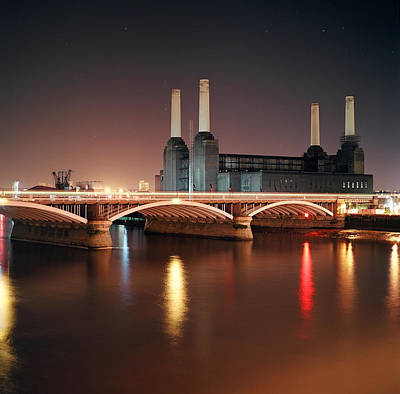 Battersea Power Station At Night Poster by Mark A Paulda