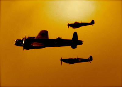 Poster featuring the photograph Battle Of Britain Flight At Dusk by John Colley